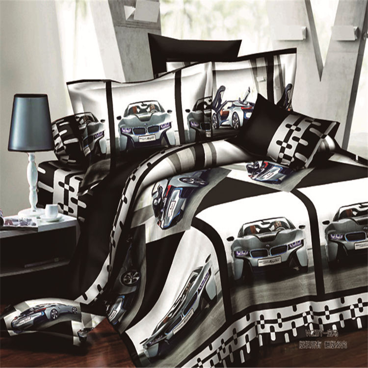 Home textiles sports car pattern 3d bedding sets 4pcs of - Drap housse king size ...