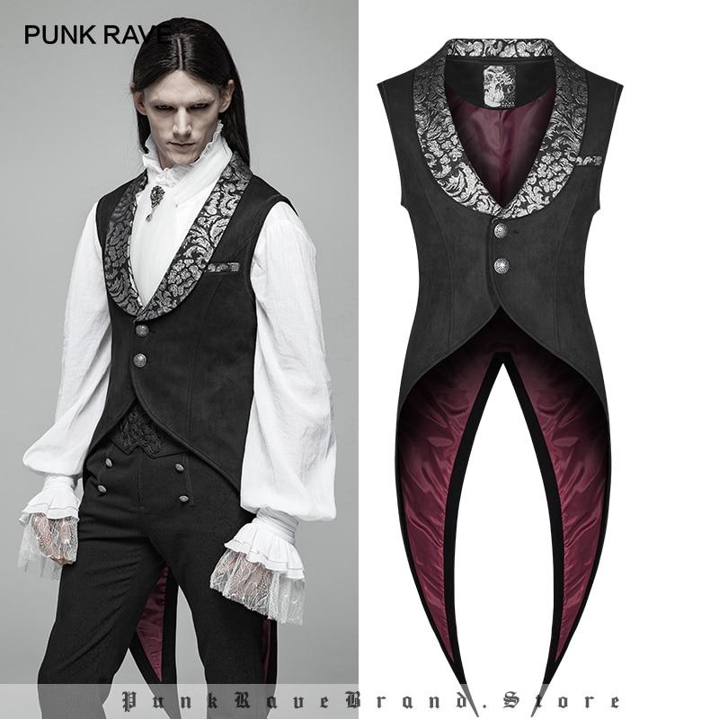 PUNK RAVE Men's Gothic Swallow Tail Retro Vest Fashion Steampunk  Vintage Waistcoat Stage Perform Jacket Vests Men Visual Kei