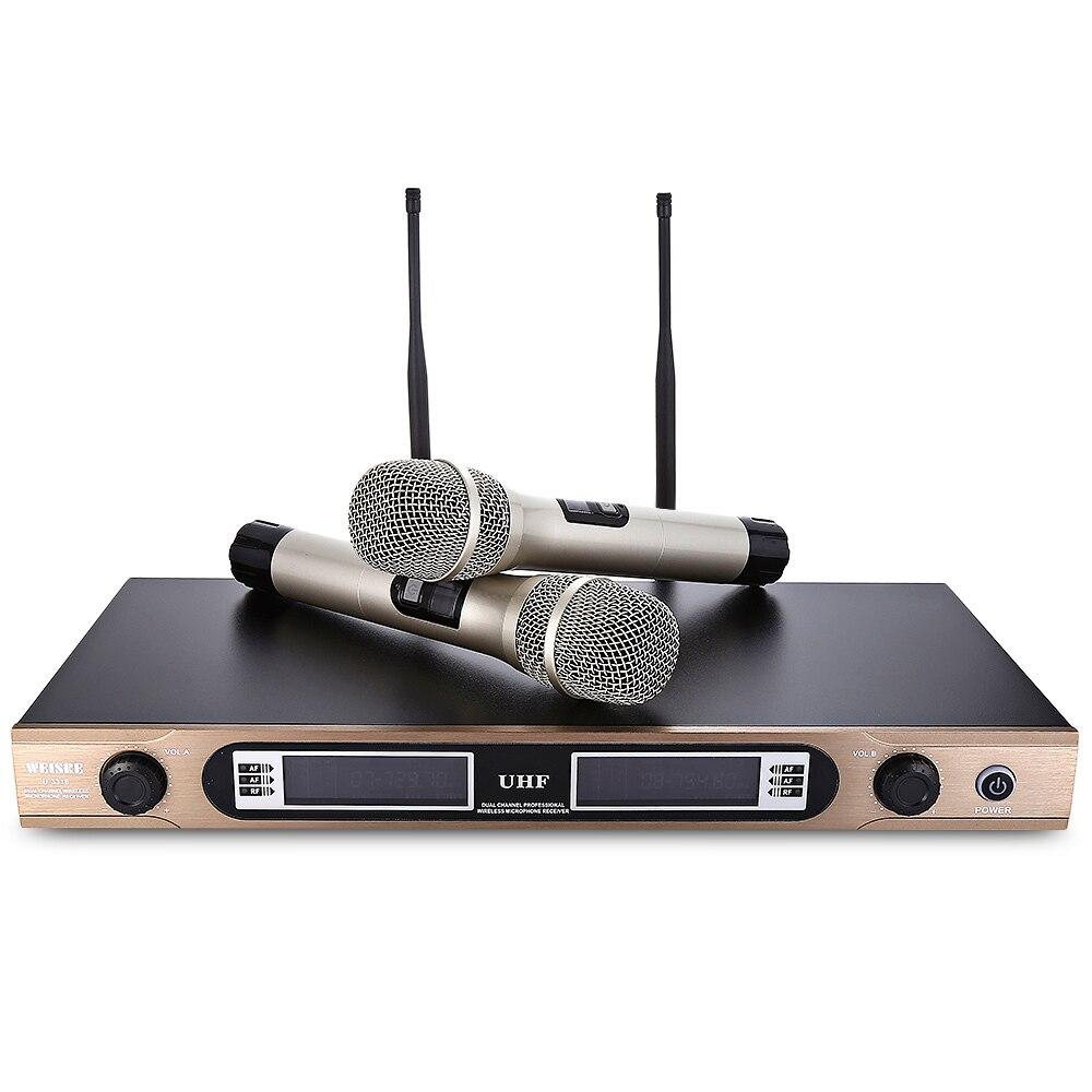 2016 New  WEISRE U - 3316 U-3316 Professional 740 - 790MHz UHF Wireless Handheld Dual Channel Transmitter Mic Set golub б907 3316