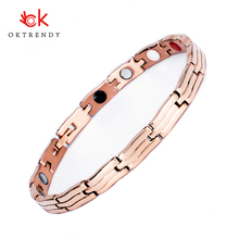 Oktrendy Wholesale Rose Gold Stainless Steel Bracelets Bangles Female Stripe Brand Charm Bracelet for Women Adjustable