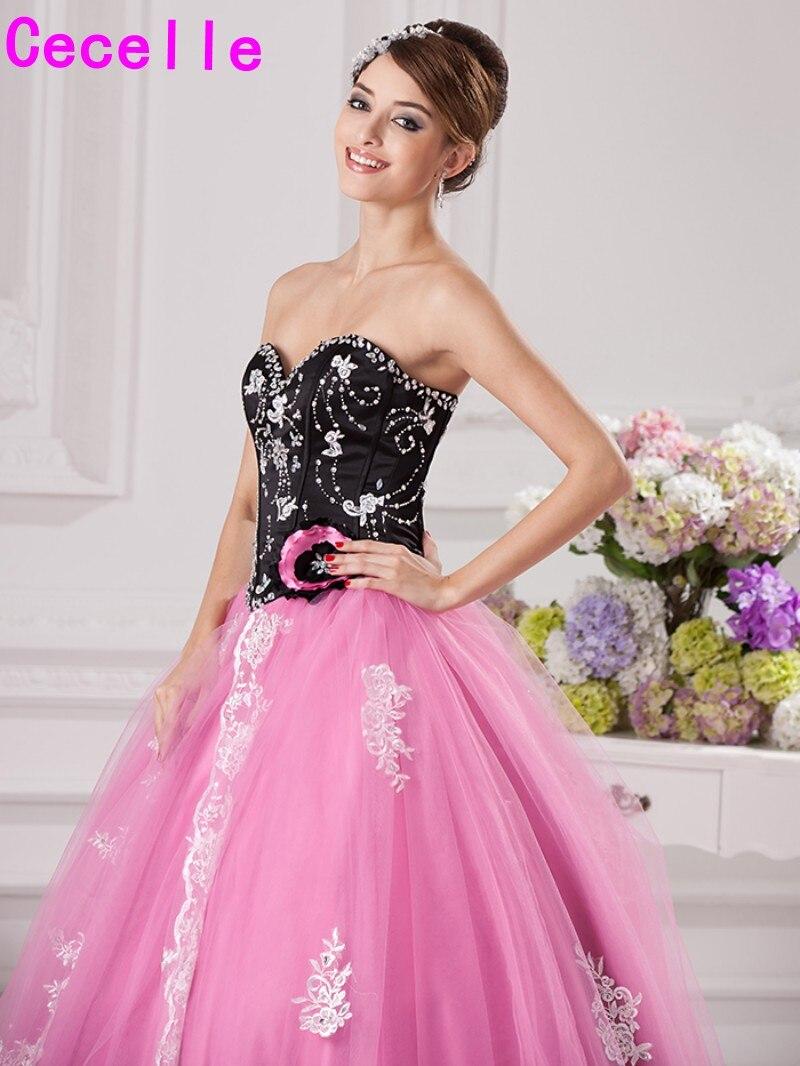 2017 nueva negro Rosa bola de la vendimia Vestidos de baile larga ...