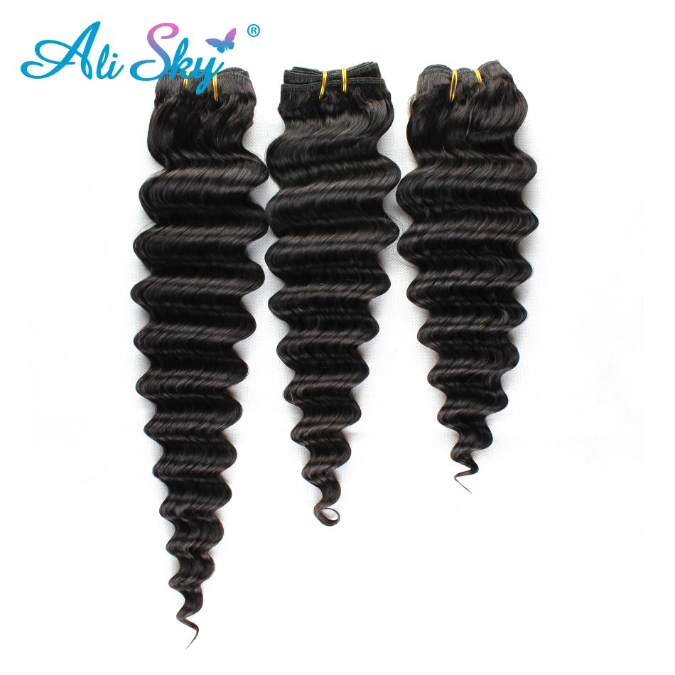 Deep Wave 3 Bundles With Closure Malaysian Human Hair Bundles And Closure With Bundles Hair 4pc/lot Non-remy Ali Sky Hair