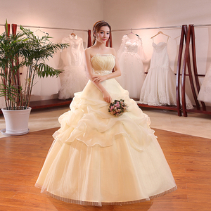Image 4 - Hot Sale Wholesale Champagne Red White Wedding Dress 2018 New Arrival Ruffles Appliques Sweetange Korean Style bride Summer