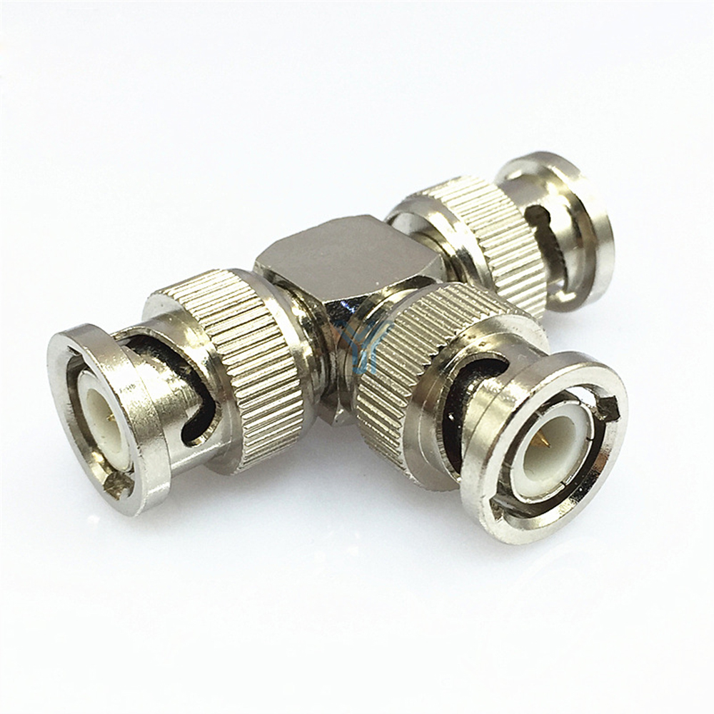 BNC Adapter Splitter Three Male Plug Q9 Male Connector Video Connector Coaxial Adapter