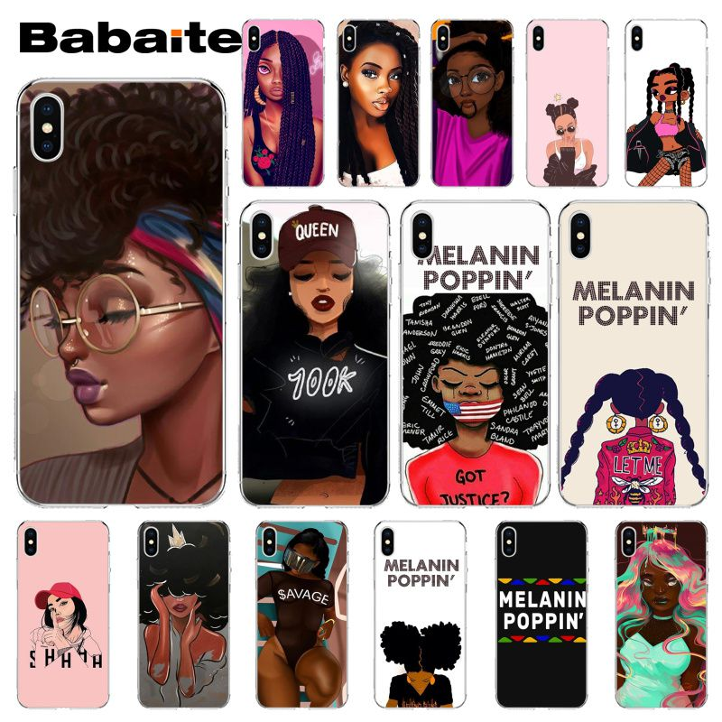 Babaite MELANIN POPPIN Black Girl Custom Photo Soft Phone Case for iPhone X XS MAX  6 6s 7 7plus 8 8Plus 5 5S SE XR(China)
