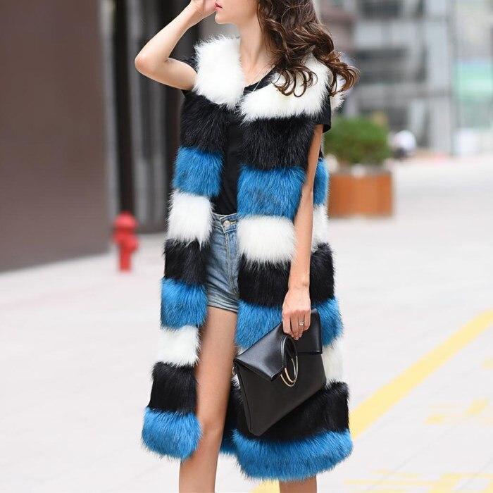 Bleu Longue De Gilet Coréenne Mince Section D'hiver Fourrure ardoisé Couture Était Slim 2017 Et Renard rose Imitation Automne 18AwfxZ8