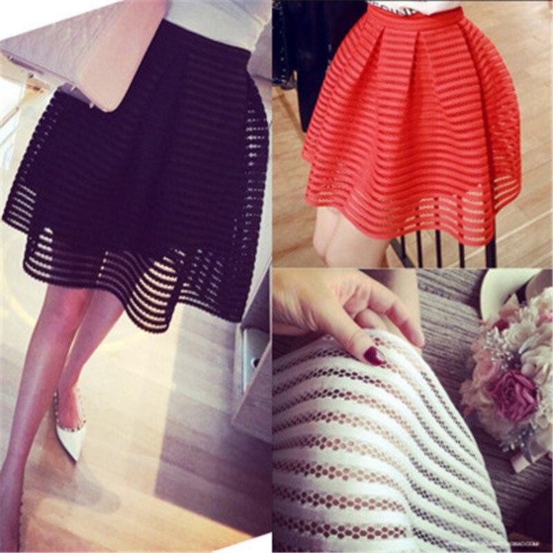 2019 Women Skirts Summer Fashion Hollow Out Retro Elegant Mini Skirt Lining Sweet Ball Gown Brief Solid Plaid Saias Female