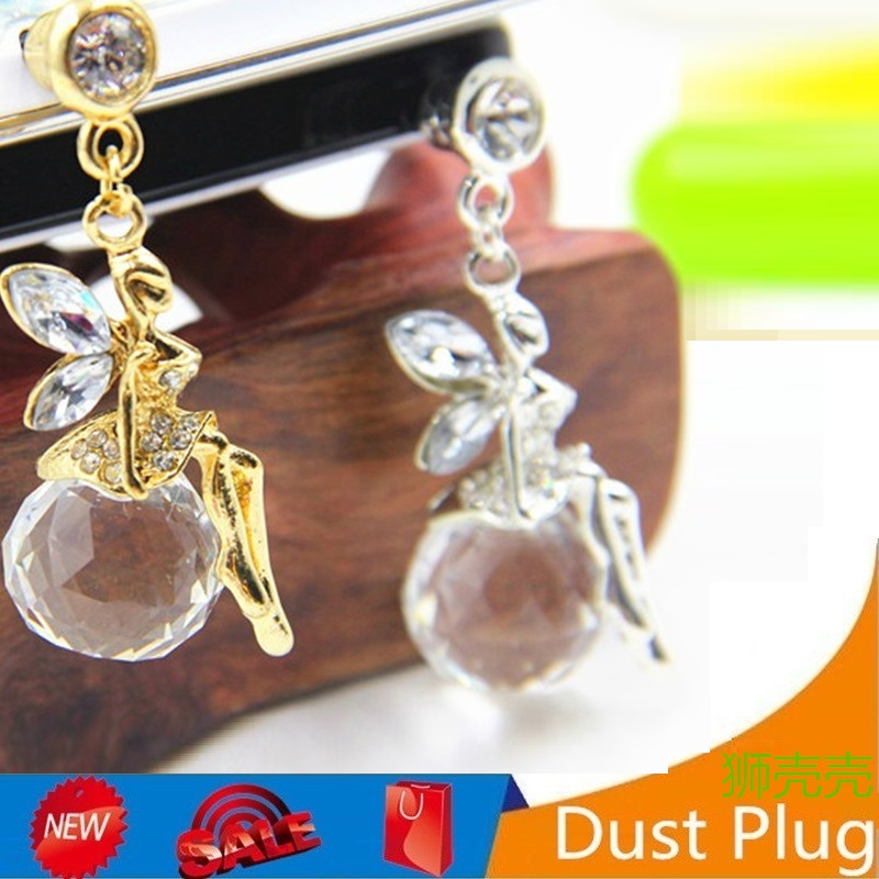 New Drill Flash Angel Phone Dust Plug Fashion Crystal Ball Mobile Phone Plug angel girl shape 3.5MM Headphone Earphone dust Plug