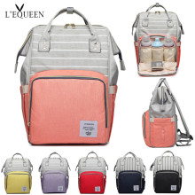 LEQUEEN Kapasiti Besar Nappy Bag Maternidade Kejururawatan Bag Summer Striped Diaper Colorful Bag untuk Baby Diaper Mummy Backpack