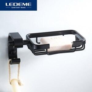 Image 2 - LEDEME Soporte de aluminio para jabón, jabonera de ducha, bandeja de baño, accesorios, estante de pared, L5502 1 de pintura en aerosol negro