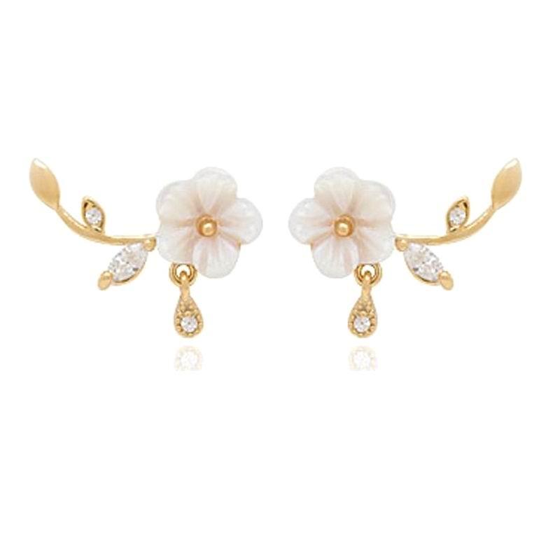Cute Sweet S Flower Ear Cuff Earrings For Women Bijoux 2018 New Stud Jewelry Whole