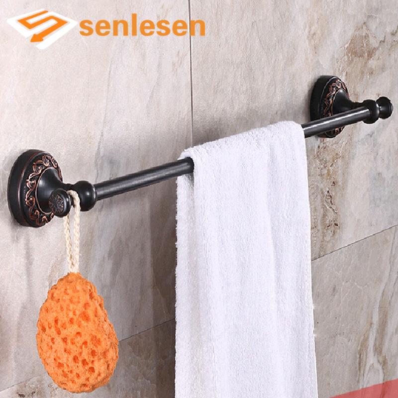 Wholesale And Retail Flower Carved Oil Rubbed Bronze Towel Rack Holder Single Towel Bar Towel Hangers