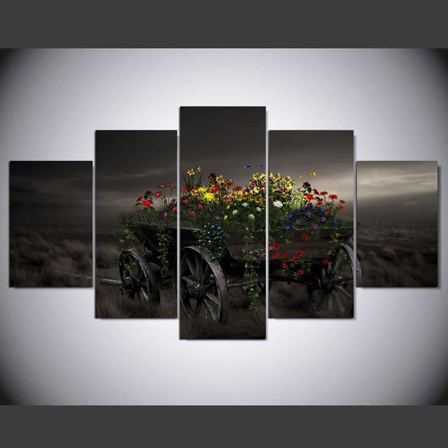 5 stuk canvas art natuur bloemen grassen canvas schilderij interieur ...