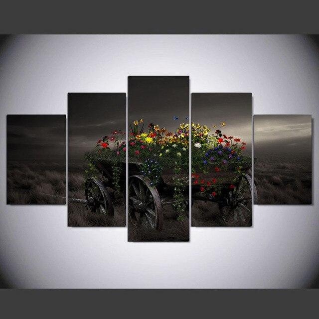 5 stuk leinwand kunst natuur bloemen grassen leinwand schilderij ...