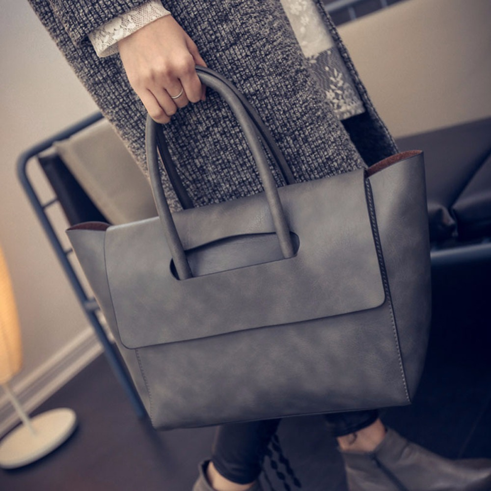 2017 New Fashion Women Handbag Tote Bag High Capacity Women Bag OL Business PU Leather Handbags Trapeze Top Handle Bag Brands