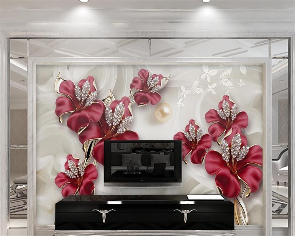 US $8.85 41% OFFBeibehang Foto Dinding Mural Wallpaper Anggrek Indah Tiga  Dimensi Perhiasan Bunga TV Latar Belakang Wallpaper untuk Dinding 3 D-in
