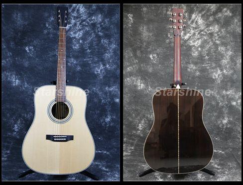 Starshine Guitare Acoustique ZZ-D28N Épicéa Massif Queue D'aronde Vertébrale Commune Sillet en Os & Selles Grover Tuner