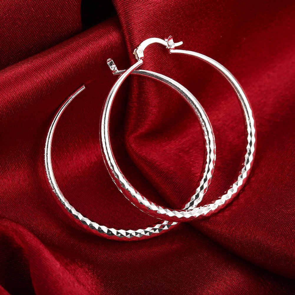 Diametro: 5.1 centimetri Elegante Prismatic Modello Orecchino Placcato Argento Medio Rotonda Orecchini A Cerchio Per Le Donne 2020 Monili di Cerimonia Nuziale del Regalo