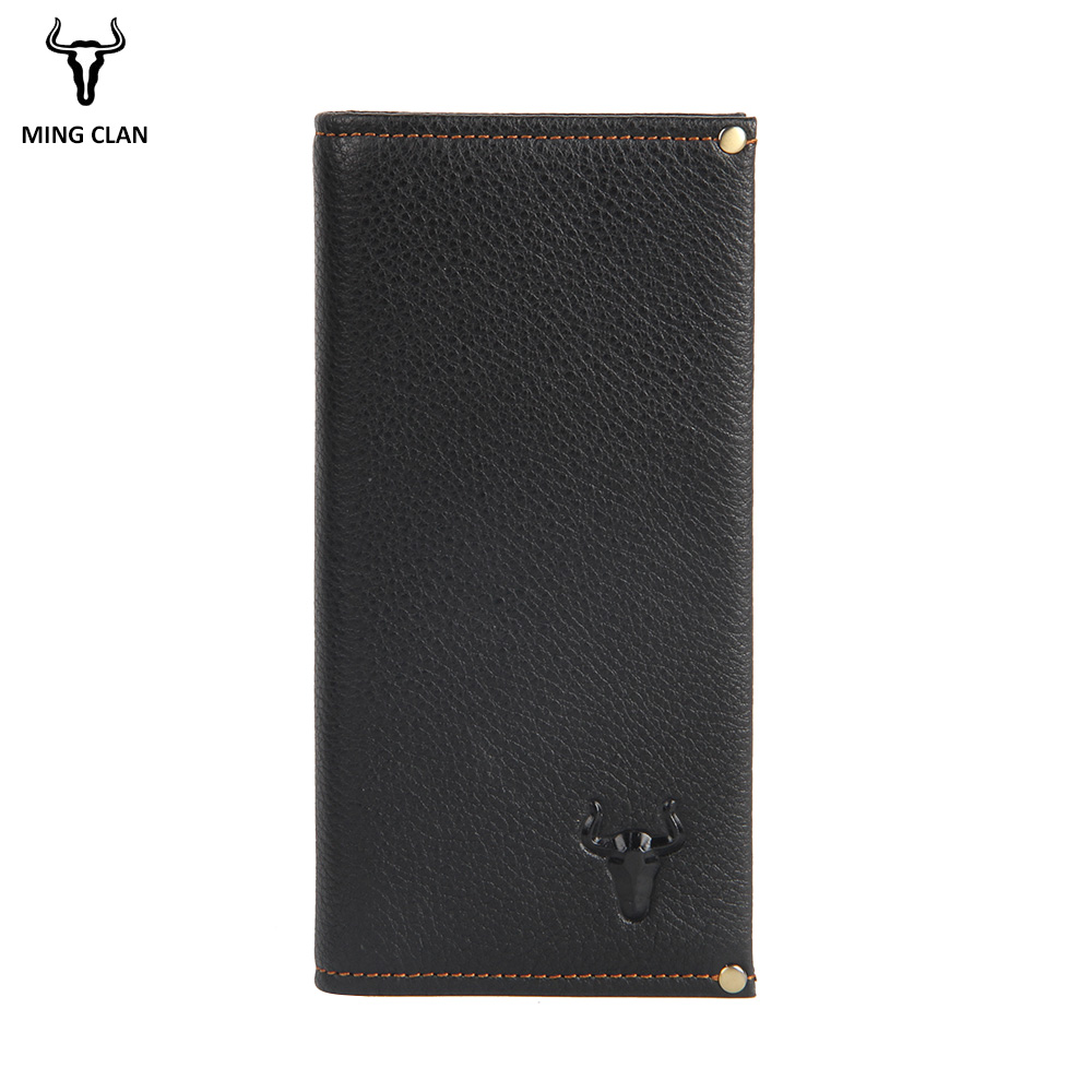 Mingclam Men Women Wallet Genuine Leather Long Clutch Wallet Bifold Purse Slim Fashion Male Wallets Carteira Card Holder Bag williampolo mens mini wallet black purse card holder genuine leather slim wallet men small purse short bifold cowhide 2 fold bag