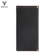 Mingclam Чоловічі жіночі гаманці натуральна шкіра довга зчеплення гаманець Bifold Гаманець Slim мода чоловічий гаманці Carteira картки власника сумка