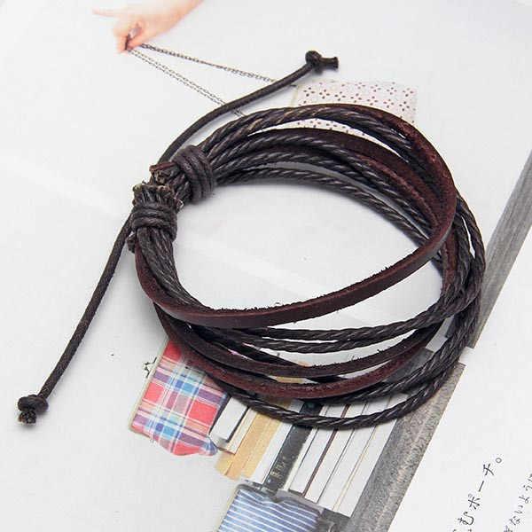 W stylu Vintage Retro biżuteria punkowa Wrap wielowarstwowe skórzane plecione liny opasek na rękę mężczyźni bransoletki i Bangles dla kobiet