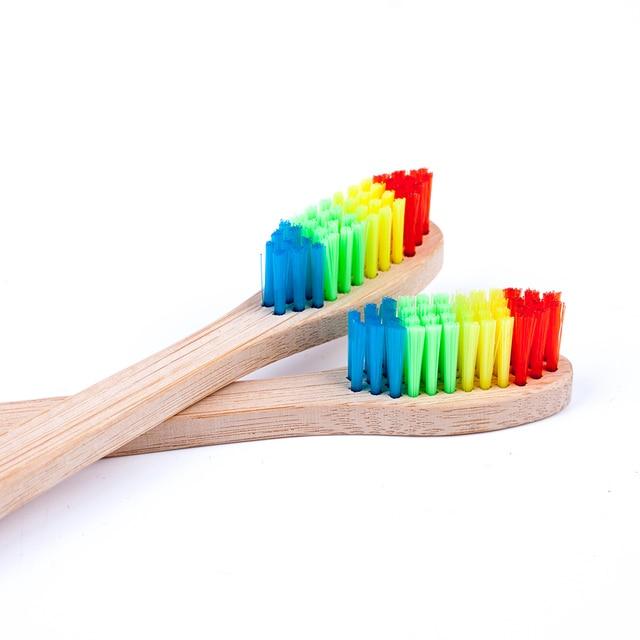 1 pc Arco Iris cepillos de dientes de bambú cepillo de dientes envío de la gota de higiene Oral de los dientes cepillos suave cerdas de la cabeza de cepillo de dientes
