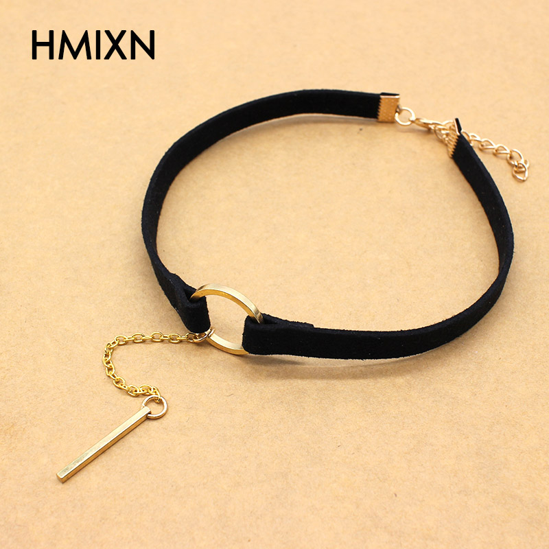 product 2017 New Velvet Choker Necklace Black leather Strip Circle Gothic for Women rope chain Collar Best Pendants Necklaces Jewelry