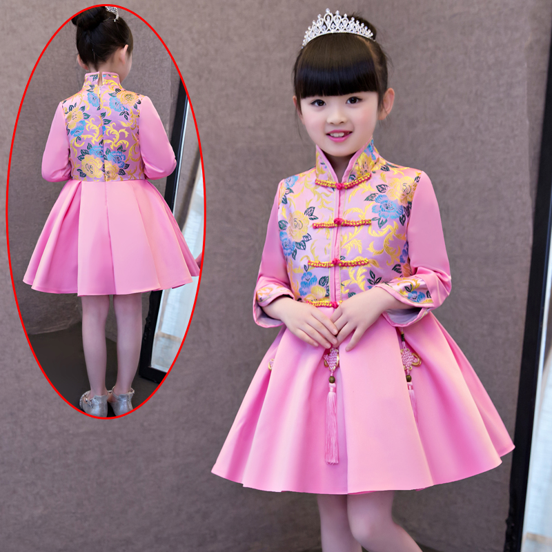 2017 autumn girls formal dresses chinese traditional qipao dresses prom princess ball dress Halloween party gown for teens dress coat traditional chinese style qipao full sleeve cheongsam costume party dress quilted princess dress cotton kids clothing