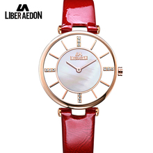 Либер aedon Мода кварцевые Для женщин Часы кожаный ремешок платье элегантные женские часы Повседневное diamond кварцевые женские Часы
