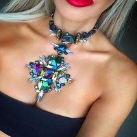 2016 Facebook Fashion Crystal Flower Statement Starburst Necklace Pendant Necklace Collar Maxi Choker Necklace 8792