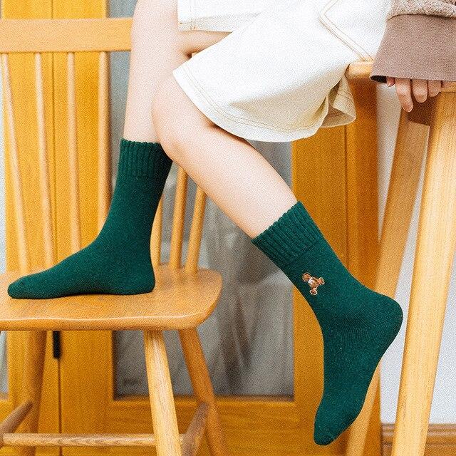 Japan Harajuku Fashion Character Crew Socks Cotton Winter Warm Terry Street Style Fluffy Wool Thermal Sock Women Christmas Gift 5