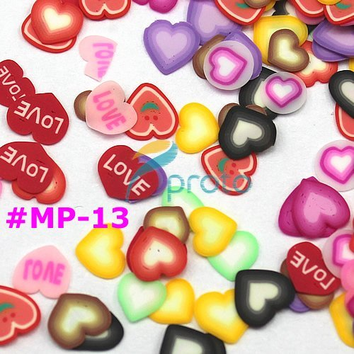 12 colors 3D cute heart slices polymer clay perfect for nail art decoration in wheel  SKU:D0091X