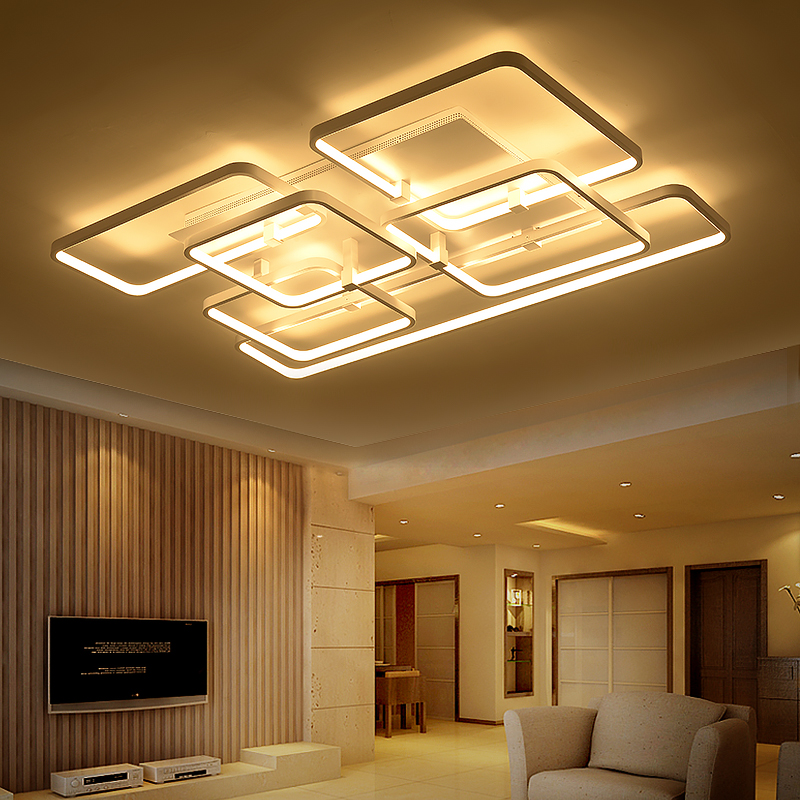 Square surface mounted modern led ceiling lights for for Living room light fixtures