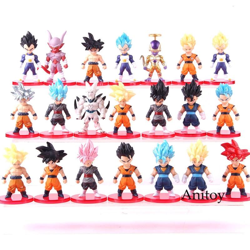 Anime Dragon Ball Super Saiyan God Son Goku Ultra Instinct Gohan Vegeta Vegetto Blue Freeza Zamasu PVC Figures Toys 21pcs/set