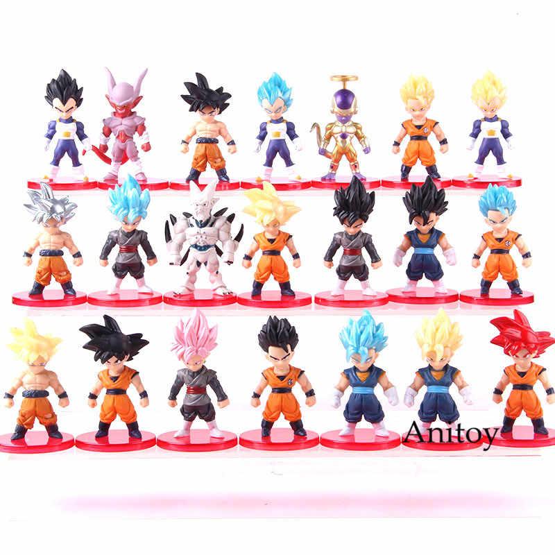 Anime Dragon Ball Son Goku Super Saiyan Deus Ultra Instinto Gohan Vegeta Vegetto Azul Zamasu Freeza PVC Figuras Brinquedos 21 pçs/set