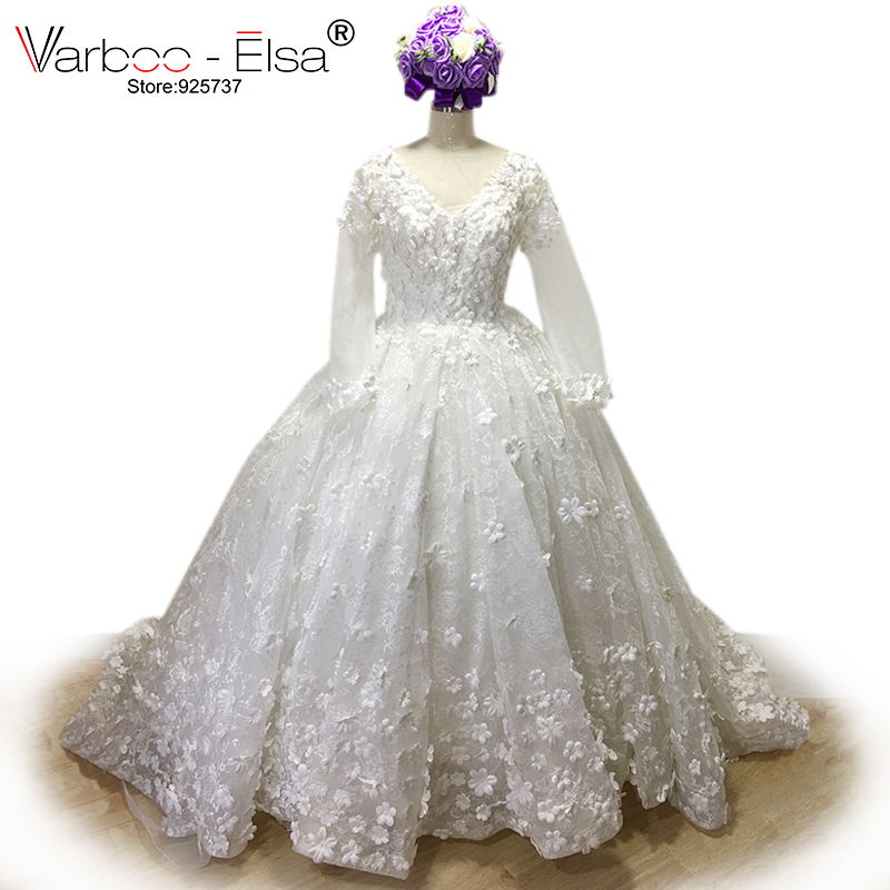 acca0534089 VARBOO ELSA Ball Gown Arabic 3D flower Luxury Applique Beaded Diamond lace Bridal  Gown Wedding Dress 2017 White wedding gowns 0