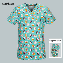 Unisex Medical scrubs nursing top spa uniform Medical clothing Dentistry pet doctor workwear surgical top+cap+mask men and women