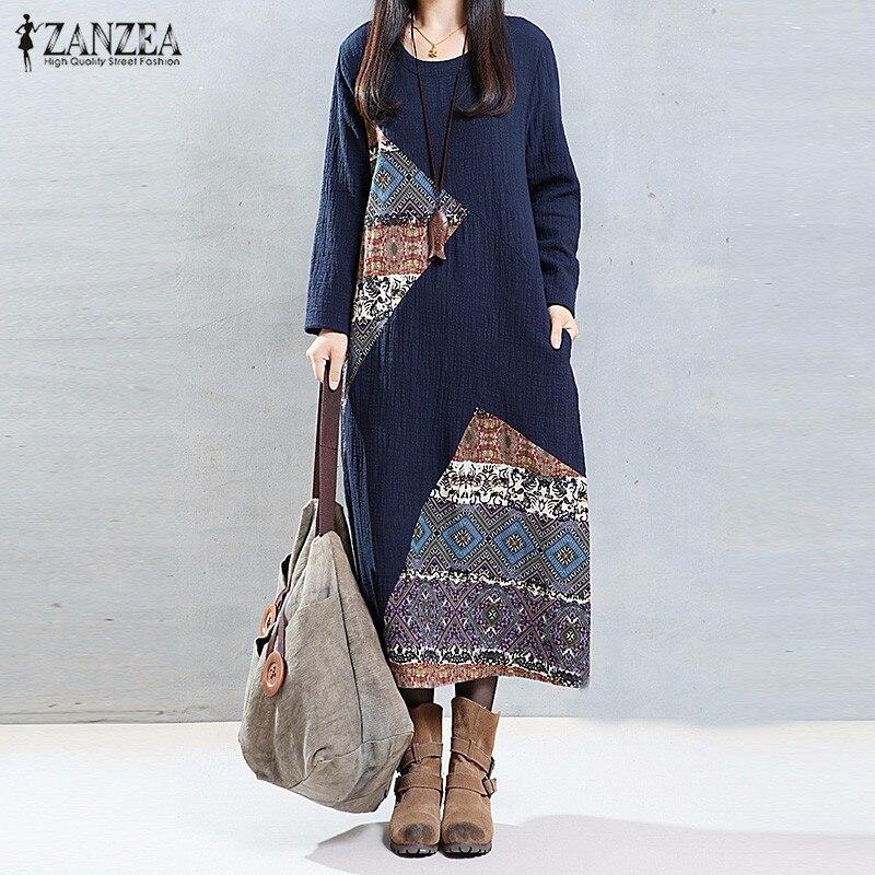 Vestido de Otoño recién Llegado  ZANZEA Mujeres Print Vintage Dress Vestido Larg