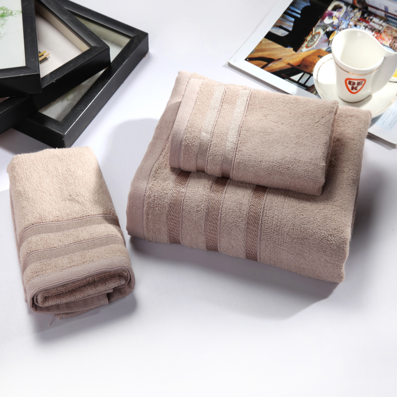 luxury hotel bamboo/cotton towel set 1 bath towel 2 face towel/camel/grey/violet for home/hotel/hospital/swimming use