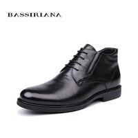 BASSIRIANA/2018 Новинка зимы Бизнес обувь из натуральной кожи мужские классические черная молния 39 45 Бесплатная доставка