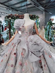 Image 4 - HTL409 grey formal party dress 2020 ball gown strapless applique special evening dresses with long cape kleider damen abendkleid