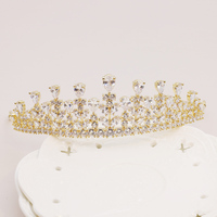 Modest Cubic Zirconia Crown Plant Design Zircon Stone Princess Tiara Gold Color Headpiece Bridal Wedding Girl