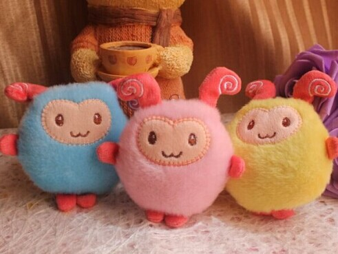 Kawaii 3PCS 3Colors NEW The Sheep 8CM Phone Strap Charm DOLL TOY Plush Stuffed TOY DOLL BAG Pendant TOY Wedding Bouquet TOY DOLL