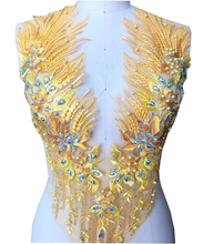 sew on beads rhinestones golden lace applique triming patches 60*33cm for evening dress DIY accessories