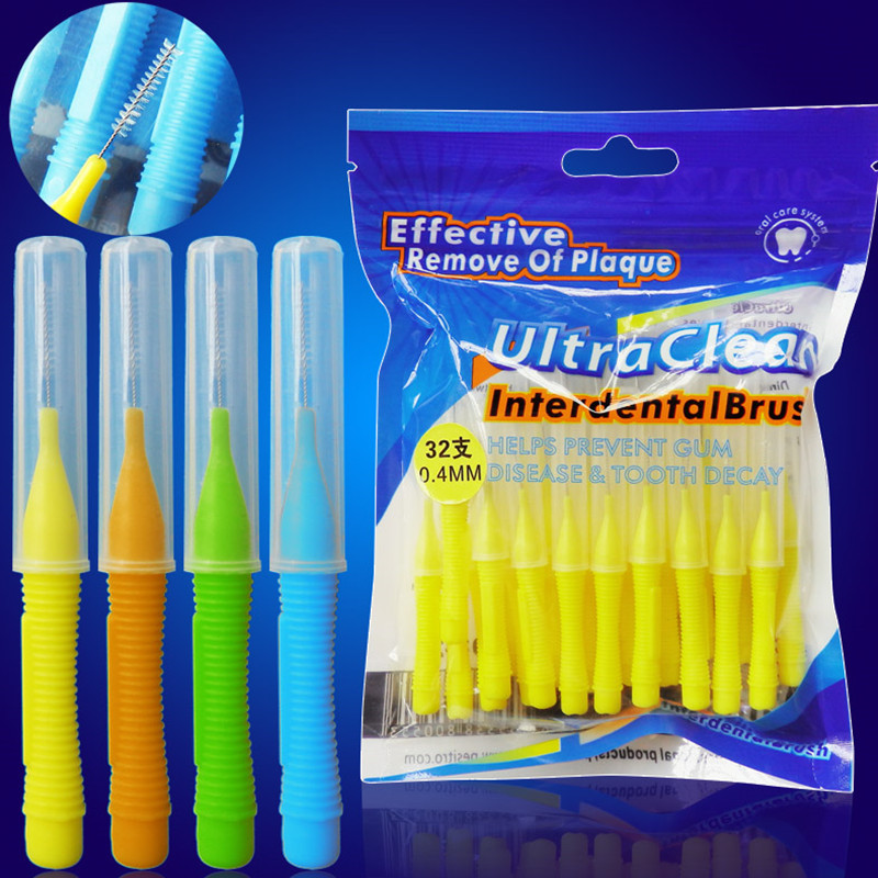 32 pcs/pack Push-Pull Interdental Brush 0.6mm Gum Interdental Brush Orthodontic Wire Brush Toothbrush Oral Care Toothpick