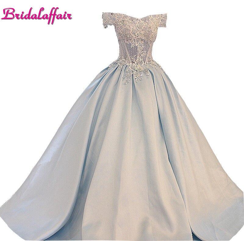 Свадебные affairluxury реальные фотографии с аппликацией свадебное платье Атлас v образным вырезом длиной до пола Длина Baby Blue Платья для женщин