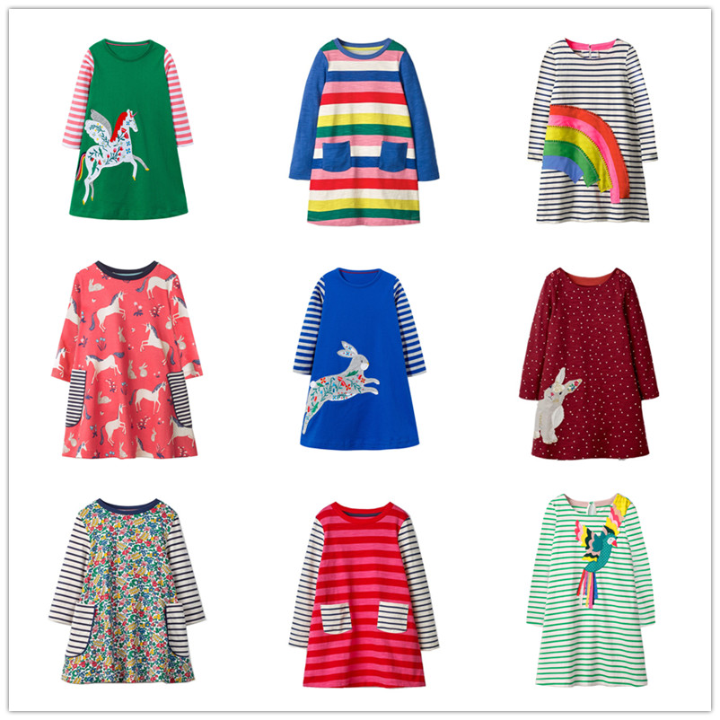 VIDMID Girls Dress Applique Long Sleeve Dress for girl Children christmas rainbow Kids Party Dresses Baby Girls Clothes penguin stylish jewel neck long sleeve christmas penguin print dress for women