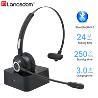 Langsdom H3 Bluetooth Wireless Headphones With Microphone Wireless Skype Headsets Earphone For Trucker Drivers Call Office