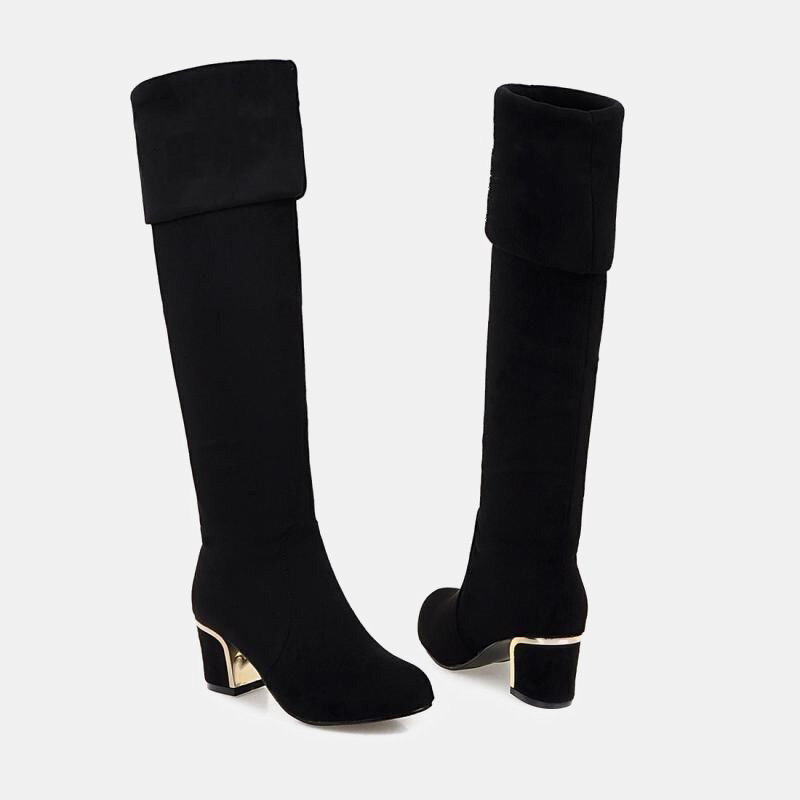 2019 new arrival women 39 s long boots for winter knee high warm short plush adjustable shaft metallic chunky heels ladies booties in Knee High Boots from Shoes
