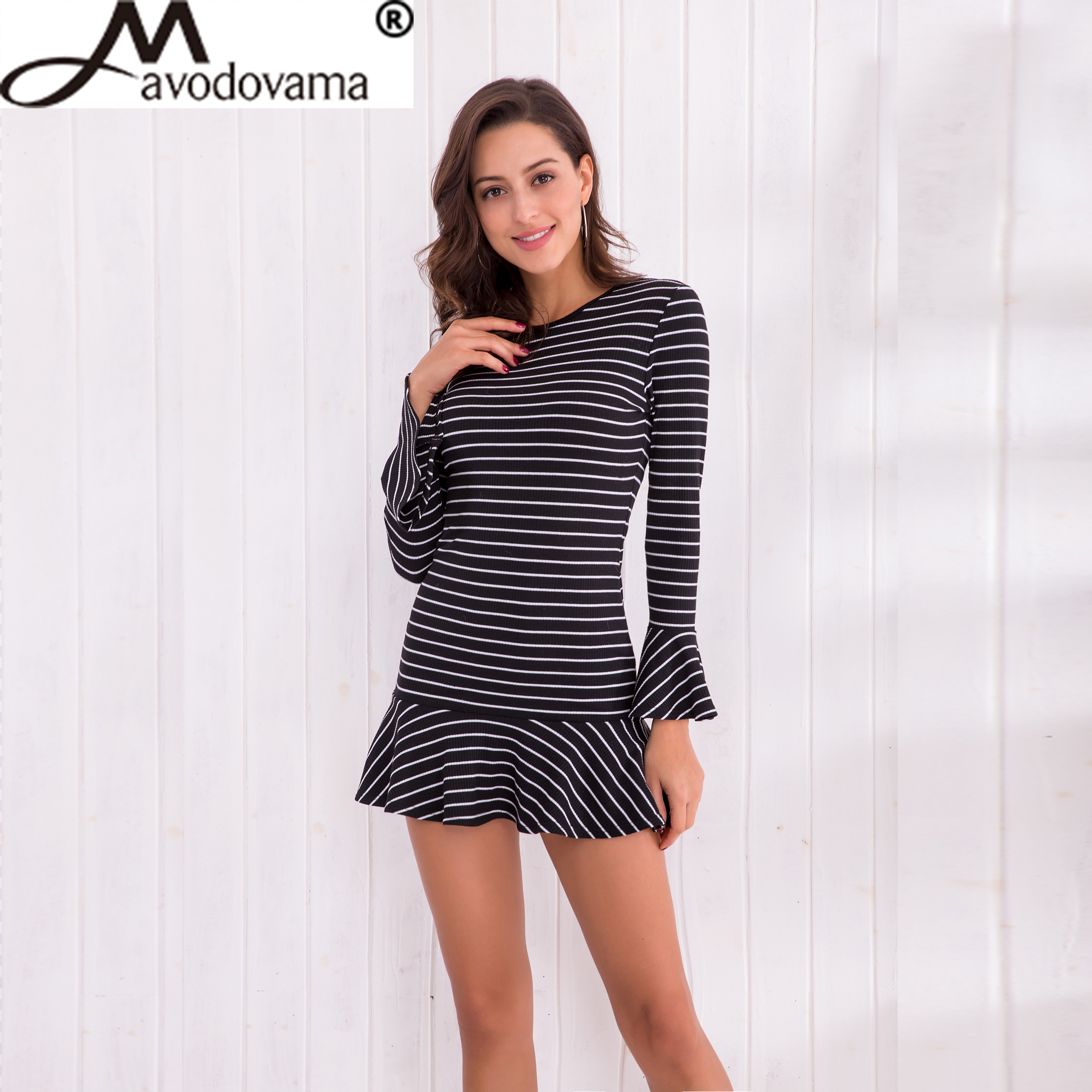 Avodovama M Fashion Casual Sexy Bandage Knitted Backless Dress Women Stripe Solid Slim Flare Sleeve Elegant Party Dresses elegant m